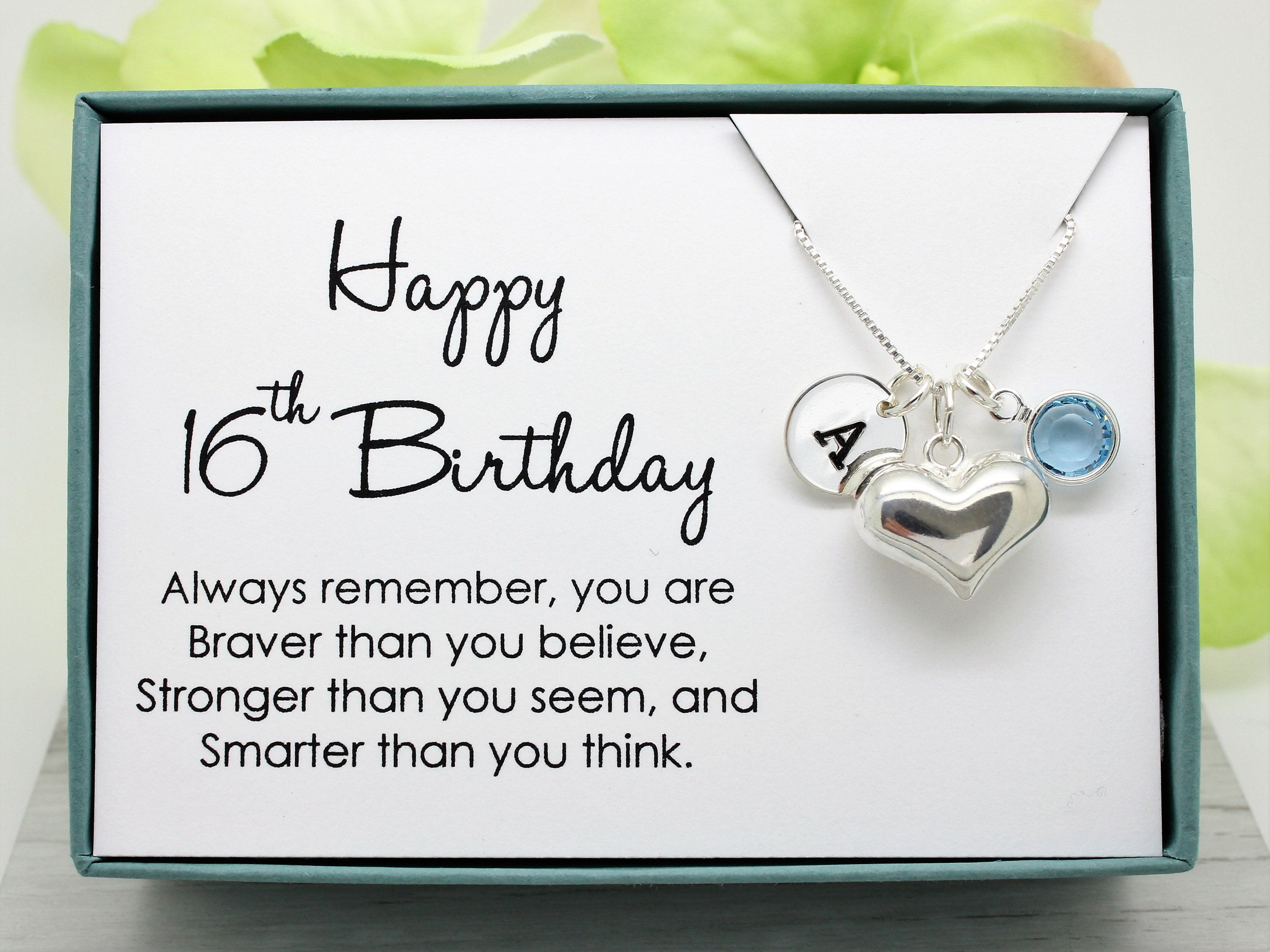 16th birthday gift for her sterling personalized initial