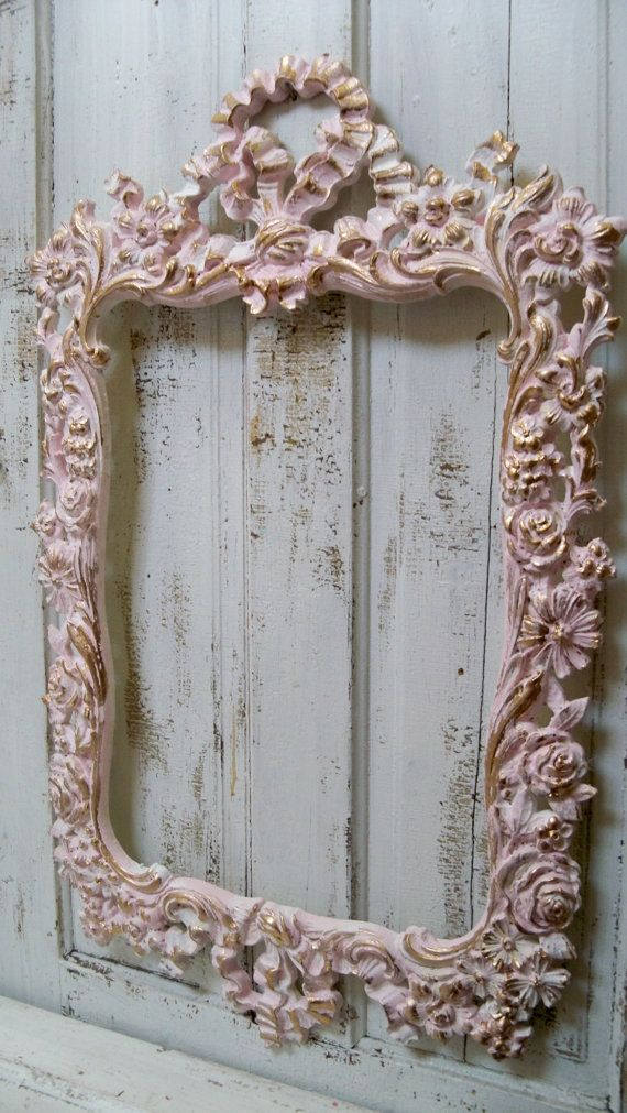 Large Vintage Pink Frame Ornate White Accented Gold Shabby