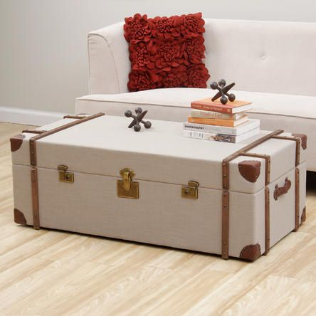 Journey Beige Linen Trunk Coffee Table Needs Nailheads And Trim Around The Edges Of Lid