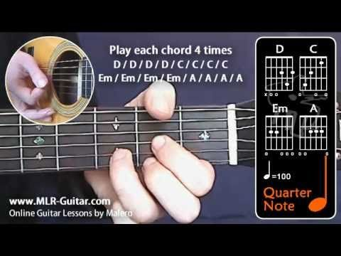 Beginners Guitar Lessons Major Minor Chords Exercise 2 D