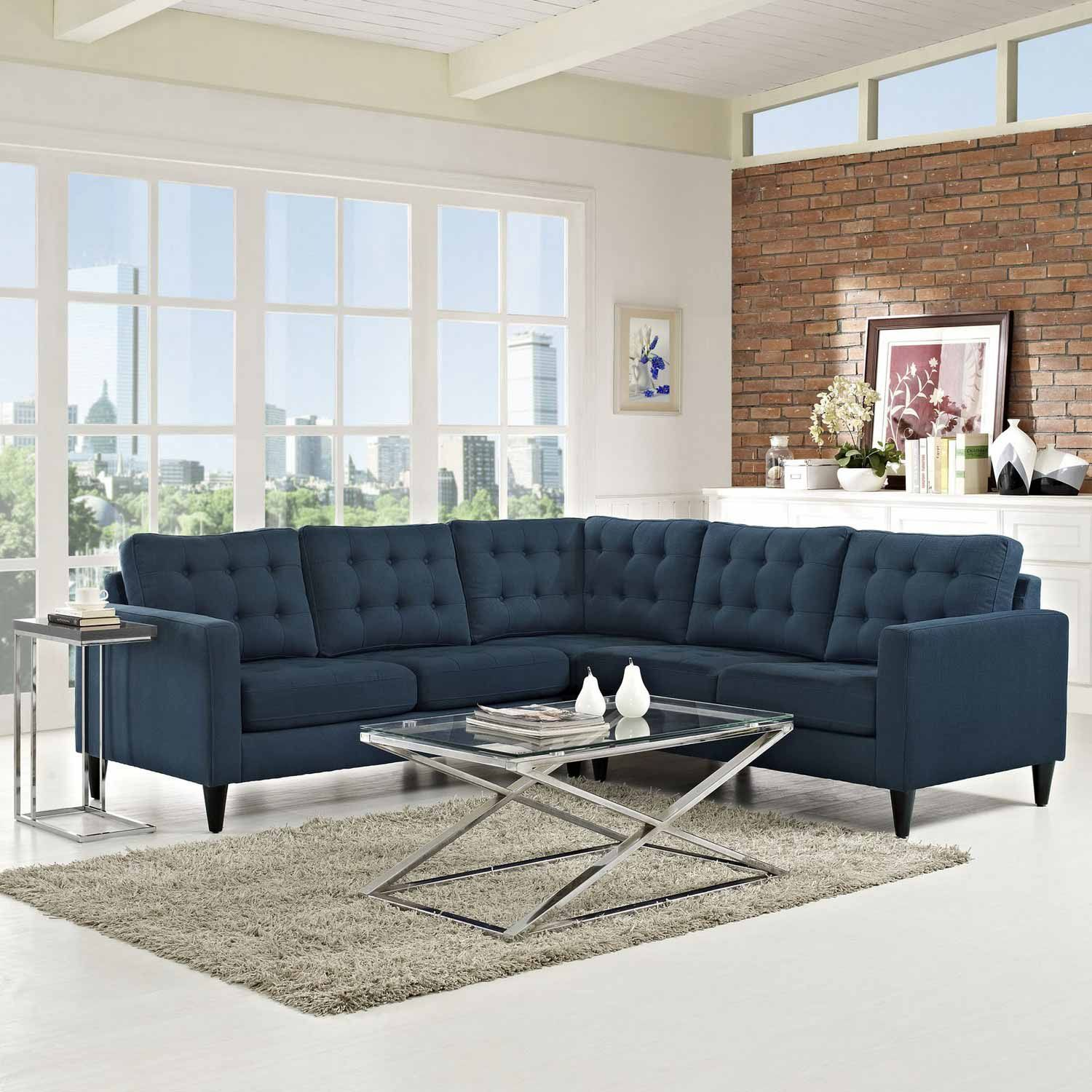 Priscilla EEI 1417NV Navy Blue Sectional Sofa | Sectional