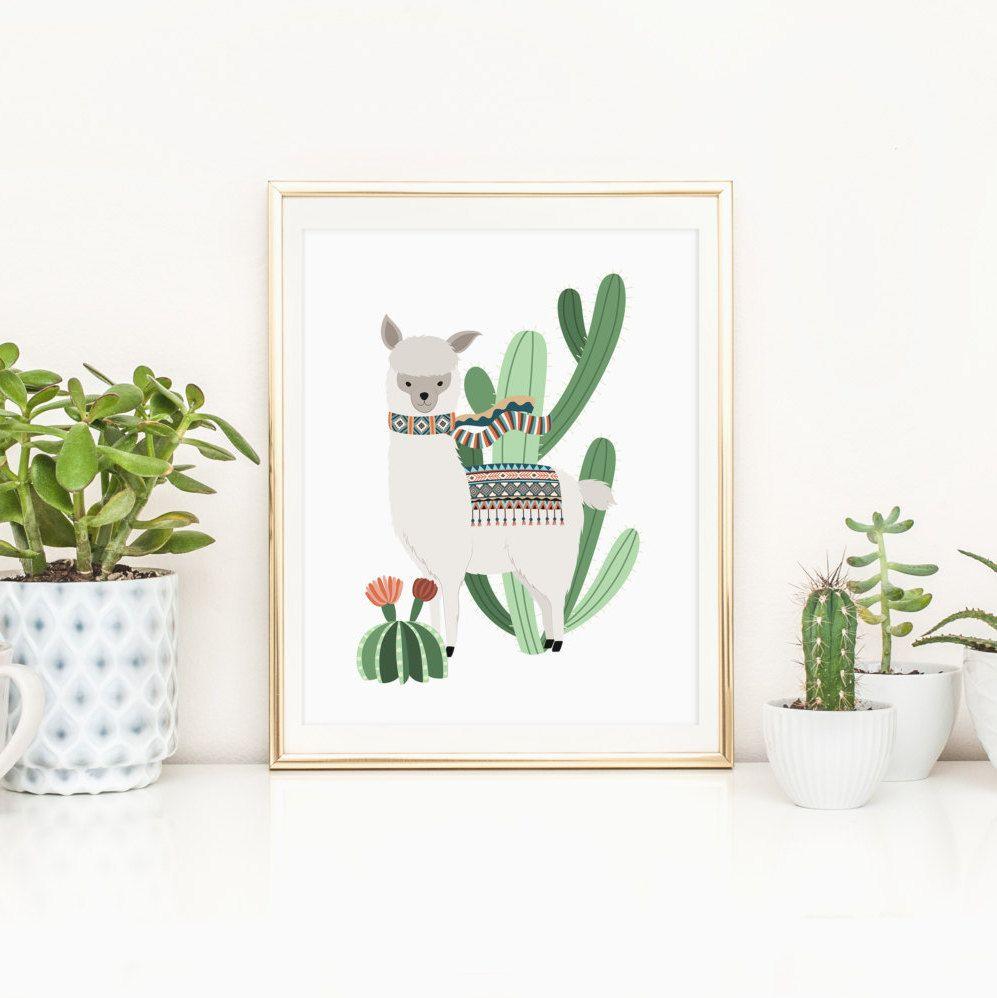 Cactus Wall Art alpaca nursery printable cactus printable llama nursery wall art