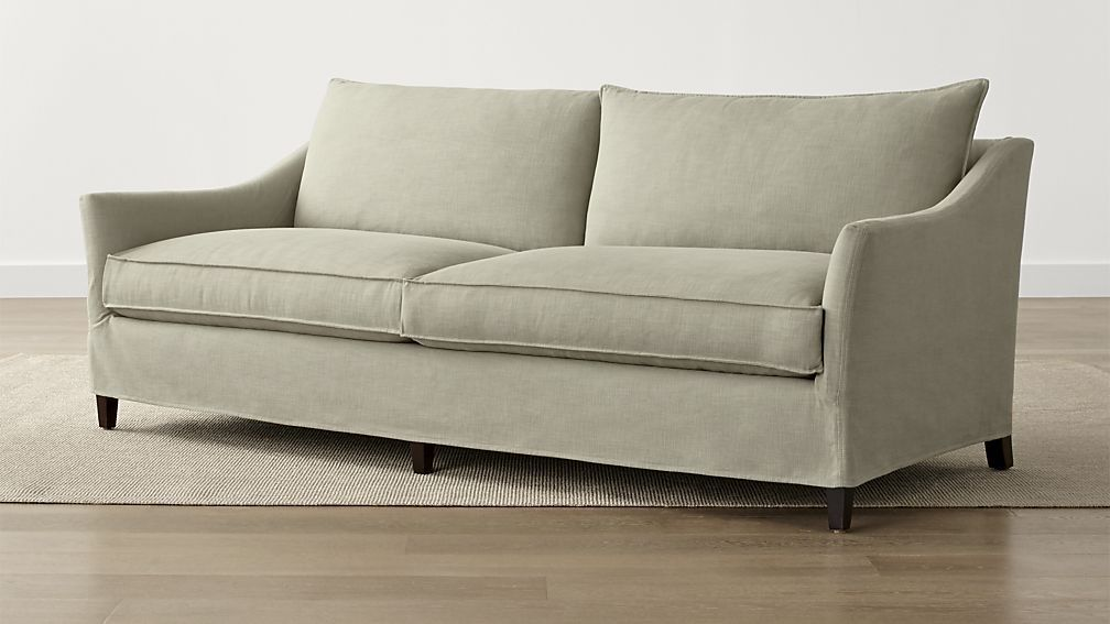Keely 2 Seat Slipcovered Sofa Crate And Barrel With Images Apartment Size Sofa Apartment Sofa Sofa