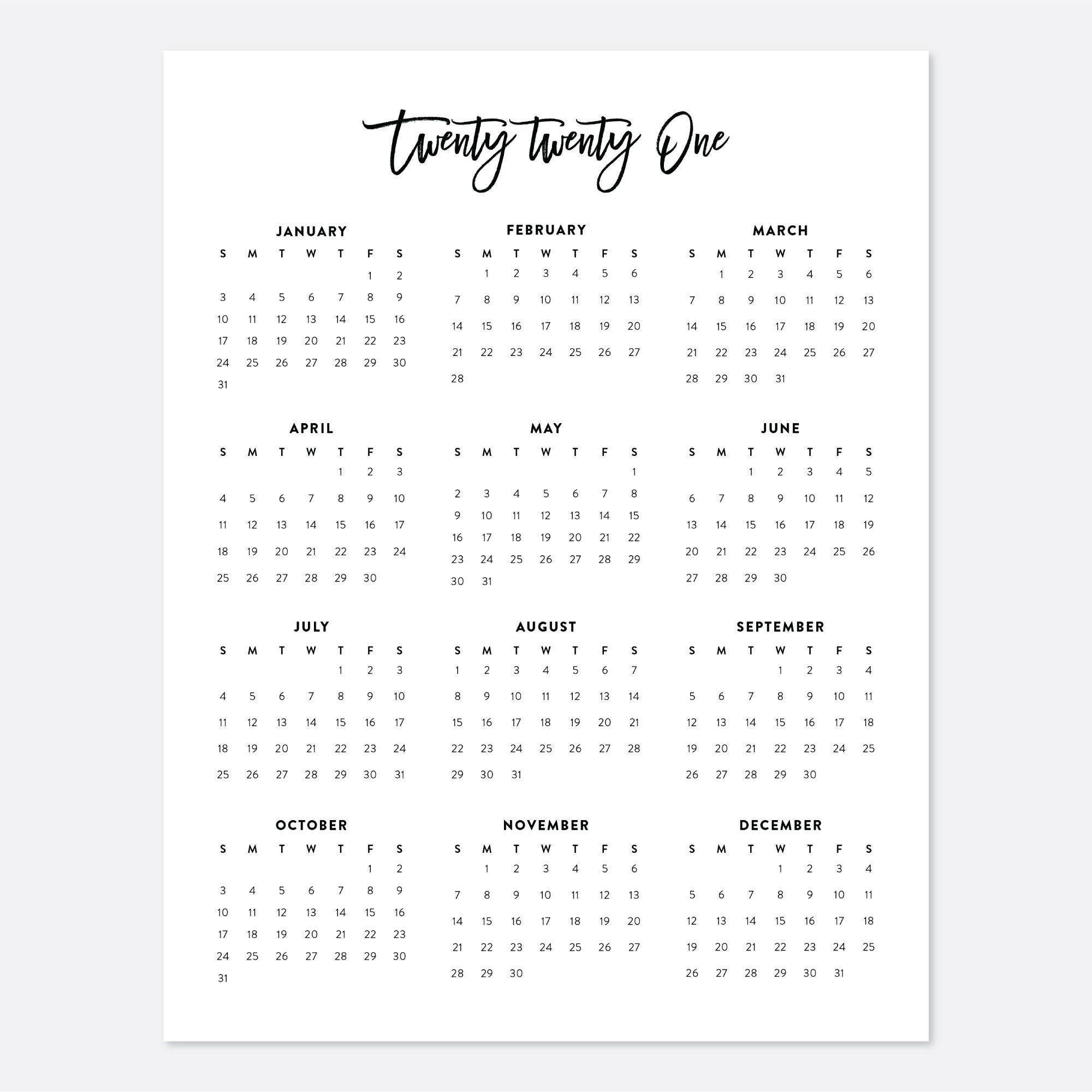 2021 Desk Calendar Printable Calendar 2021 Calendar Year Etsy In 2020 Calendar Printables Printable Calendar Minimalist Calendar Design