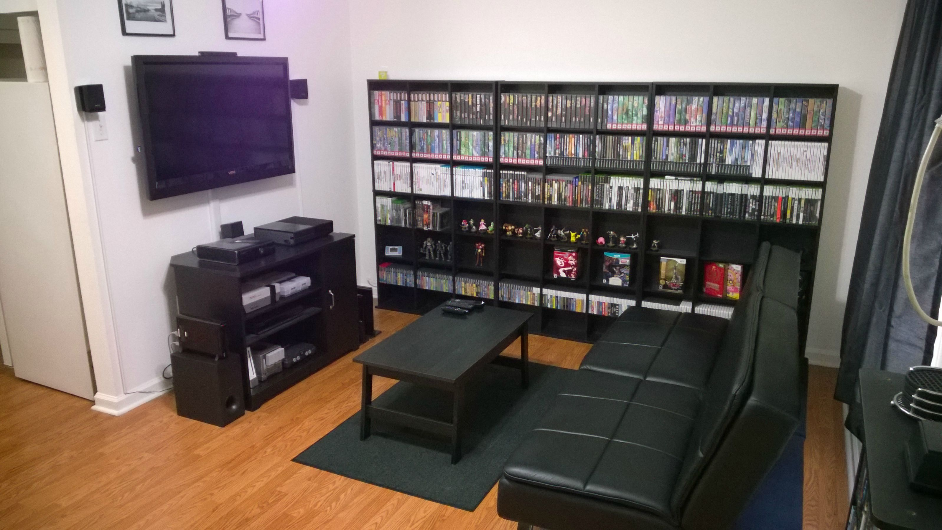 My gaming living room 1 7 15 game rooms video game for Cool gamer bedroom ideas