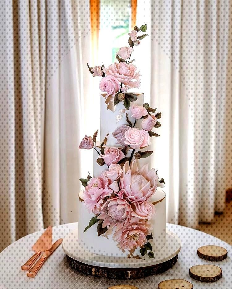 Login -  Blush + Rose Gold wedding cake with a modern cascade of our sugar Roses... -  Login –  B