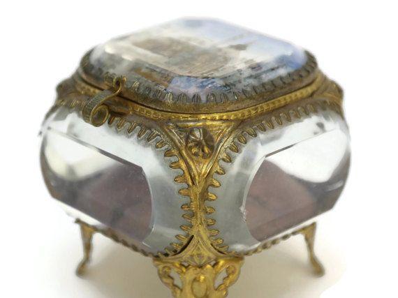 French Jewelry Box Gilt and Glass Decor Pinterest Casket