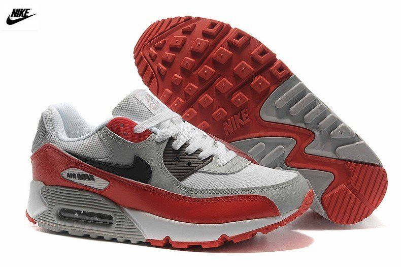 original Nike Air Max 90 Gris rouge blanc noir Homme formateurs (xXI7FU)  Vente en