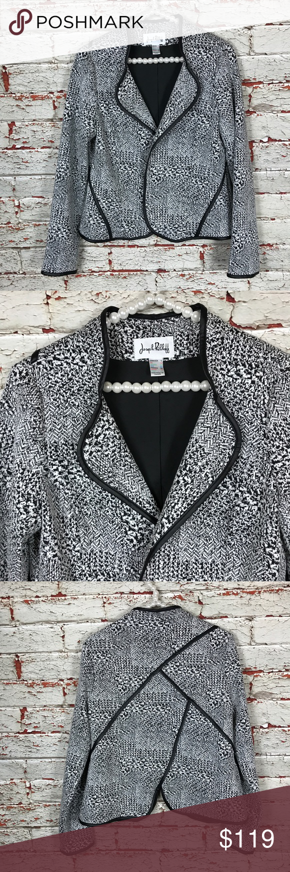 """Joseph Ribkoff Jacket Blazer Size 8 Joseph Ribkoff Jacket Blazer Sz 8 Coat Cardigan Open Front Textured Fully Lined  Item Description/Specifics: • Pre-owned, gently worn • Size: 8 • Open front • Shoulder to shoulder: 15.5"""" unstretched • Sleeve length: 23.25"""" unstretched • Armpit to armpit: 19"""" unstretched • Length: 21.5"""" unstretched • No material content tag  Stock#: NB Joseph Ribkoff Jackets & Coats Blazers"""