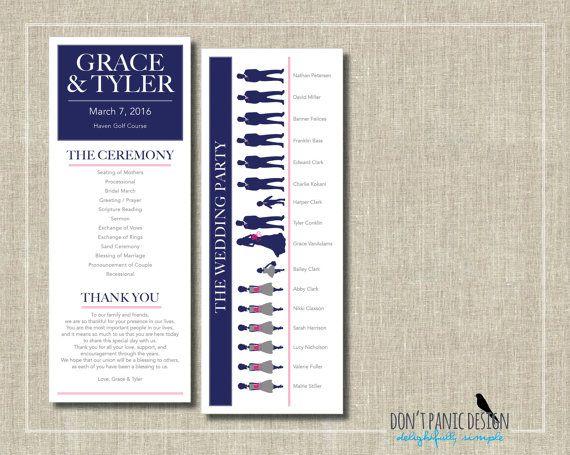 Printable Wedding Program Card - Modern Silhouette - Navy Blue - Custom Colors