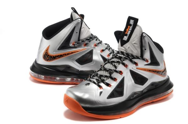 Nike Air Max LeBron James X Silver/Black/Orange Basketball shoes