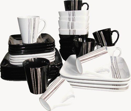 toile dish sets 32 piece black and white embossed stripe square dinner set by