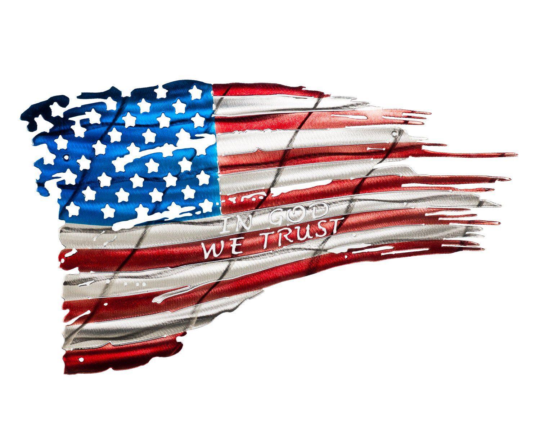 War Torn American Flag Metal Wall Art Bandeira Americana Tatuagem De Bussola Caveira Bope
