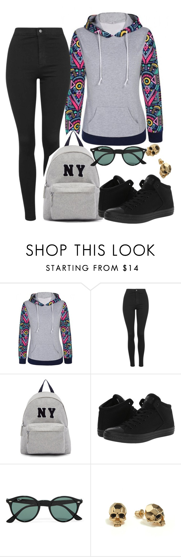 """3/24/2016"" by kimxphillips on Polyvore featuring Topshop, Joshua's, Converse, Ray-Ban, Kasun, converse and comfy"