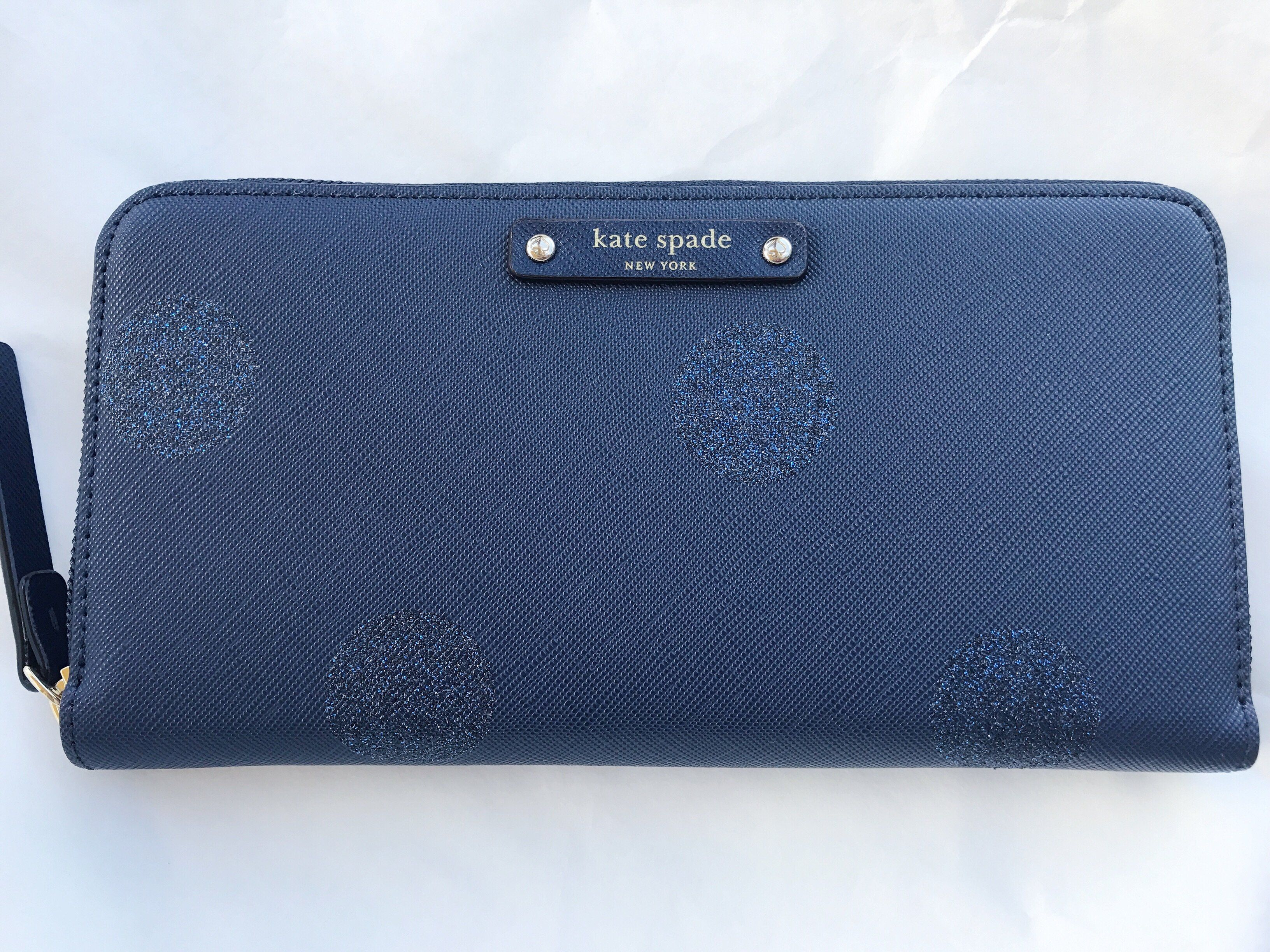 Kate Spade Haven Lane Neda Zip Around Wallet Lacey Navy Glitter Polka Dots