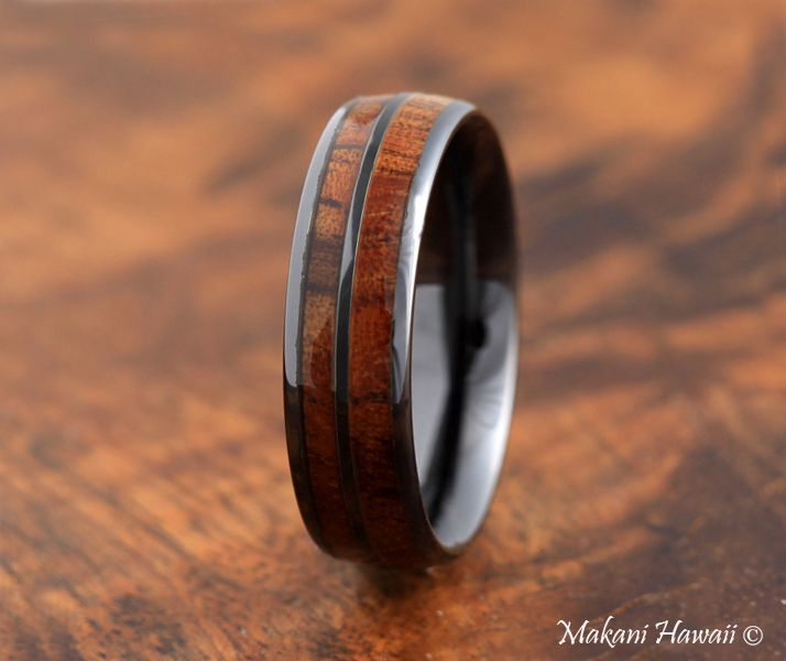 Hight Tech Ceramic Koa Wood Double Row Ring Black Oval 6mm