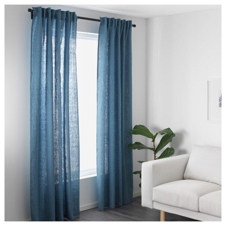 Aina Curtains 1 Pair Blue Ikea Blue Curtains Living Room Blue Curtains Living Room Orange