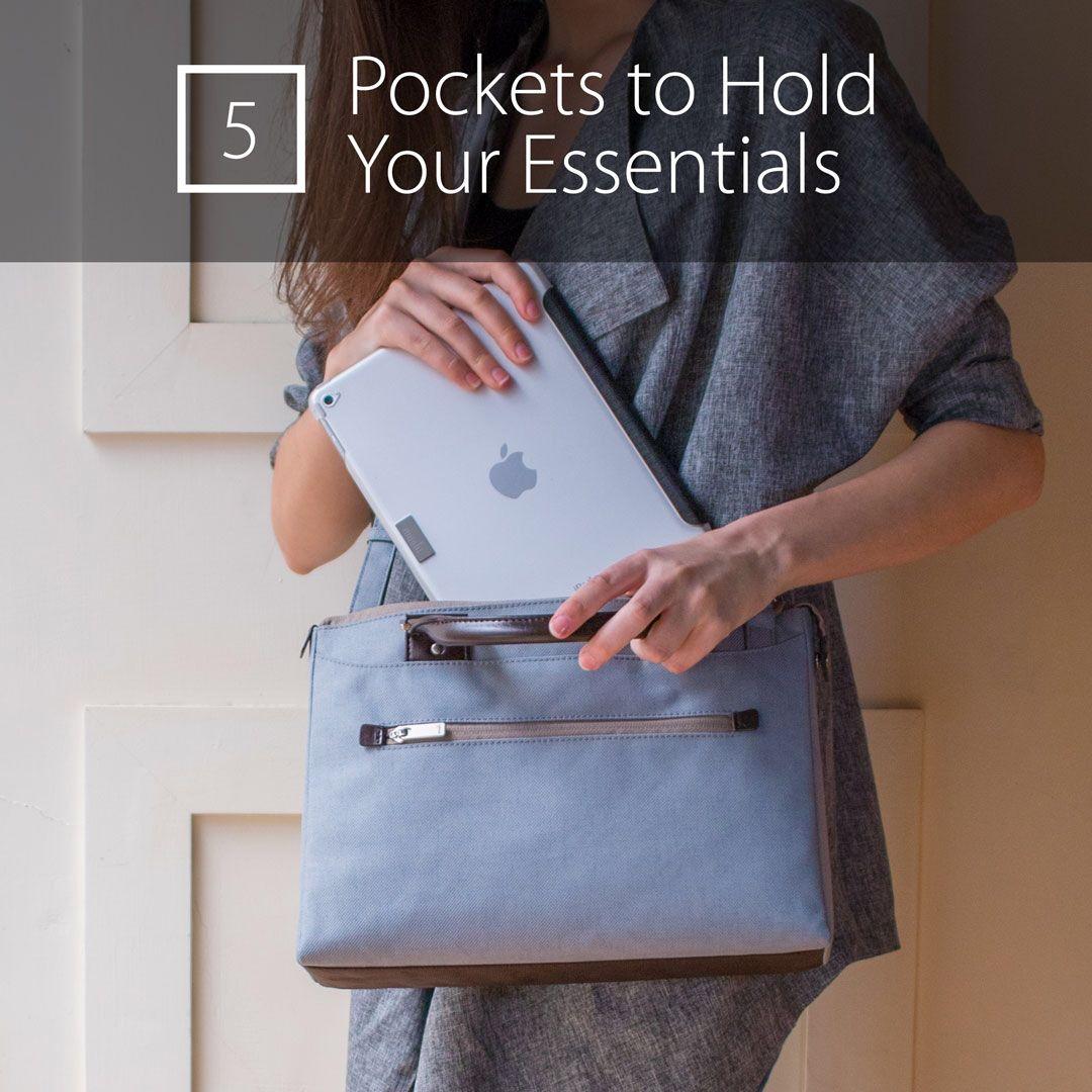 Reason No.5 to love Urbana Mini: Pockets, pockets, padded pockets!  #handbag #fashionista #urbanchic #littleblackbag #cute #style #techbag #tabletbag