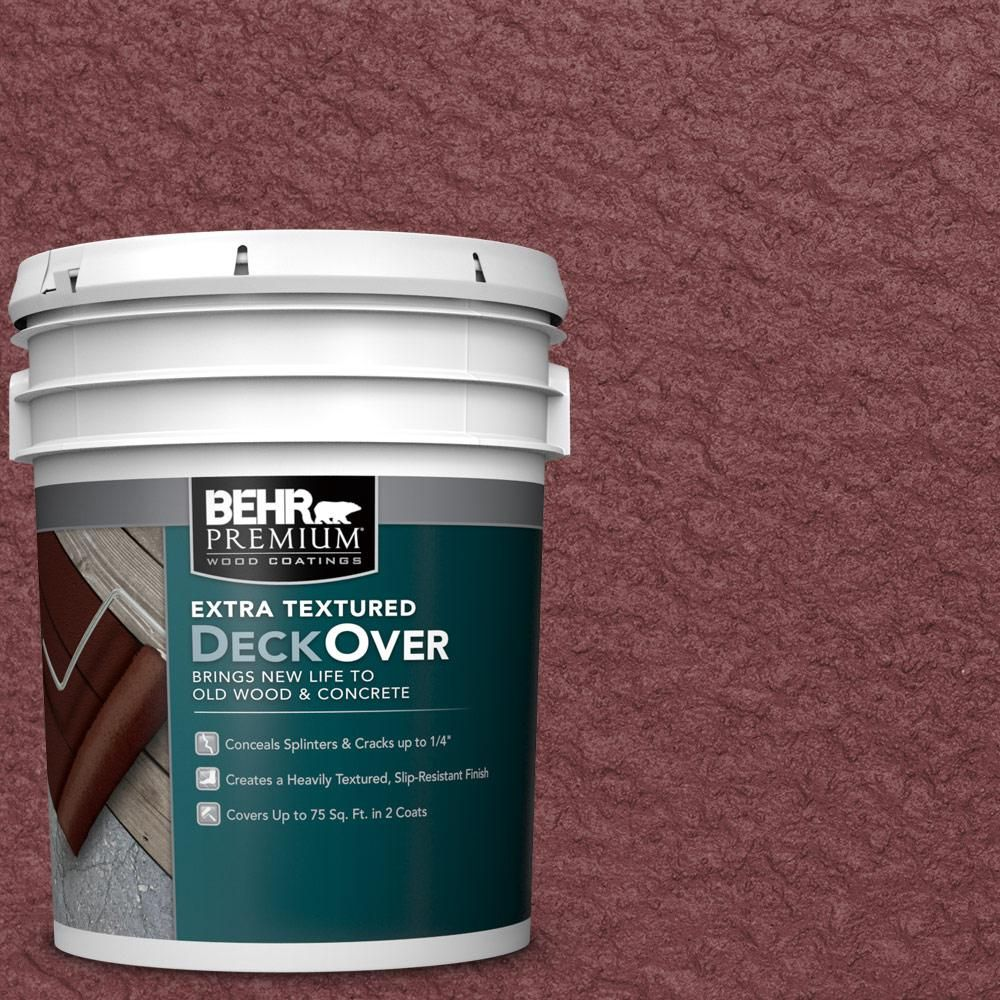 BEHR Premium Extra Textured DeckOver 5 gal. #pfc-04 Tile Red Extra Textured Wood and Concrete Coating