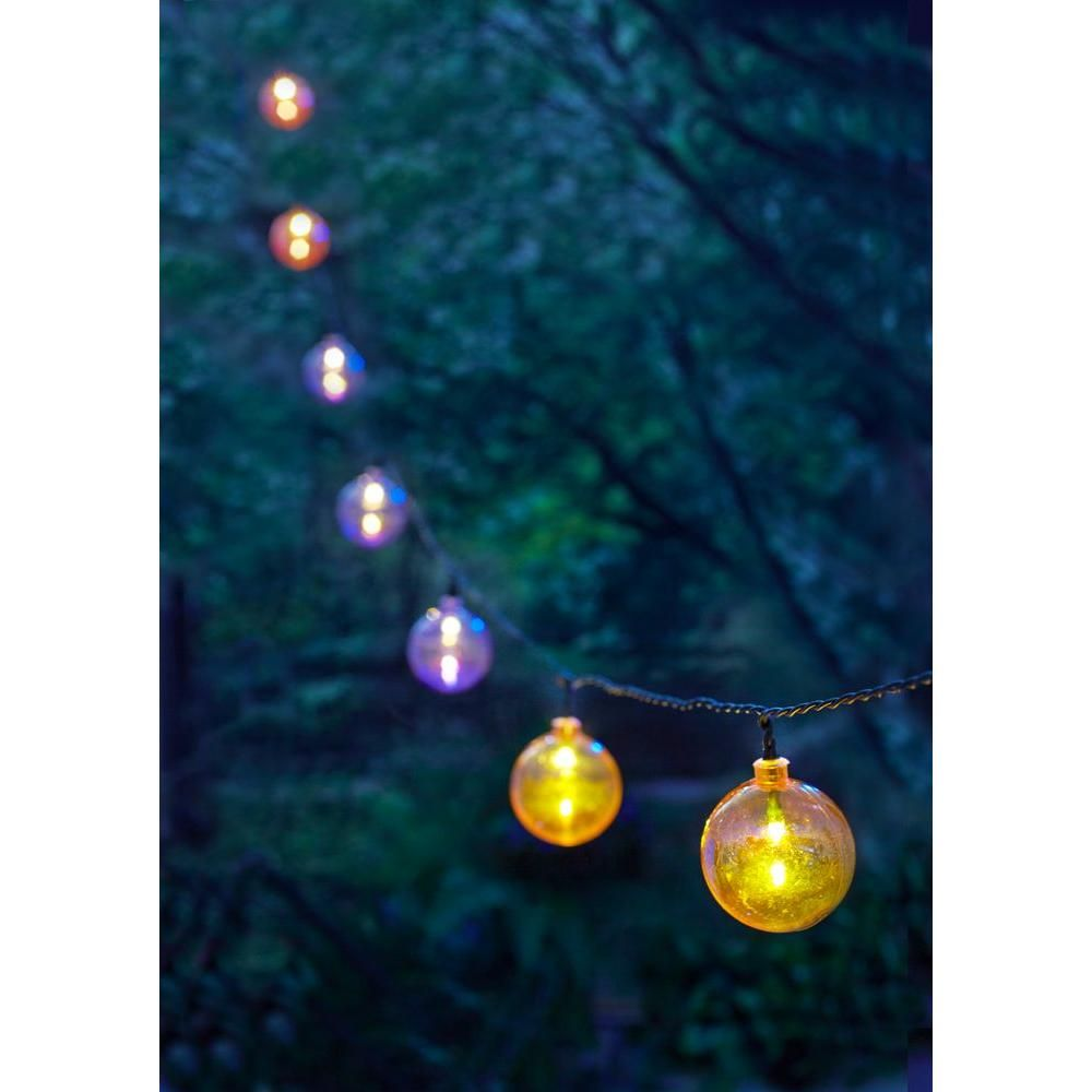 moonrays solar powered pearlescent outdoor led globe string light 91138 the home depot - Solar Powered Christmas Lights Home Depot