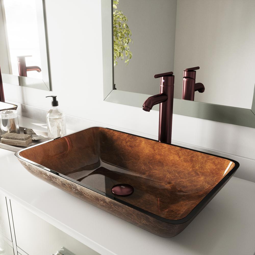 Vigo Rectangular Glass Vessel Bathroom Sink In Russet With Faucet