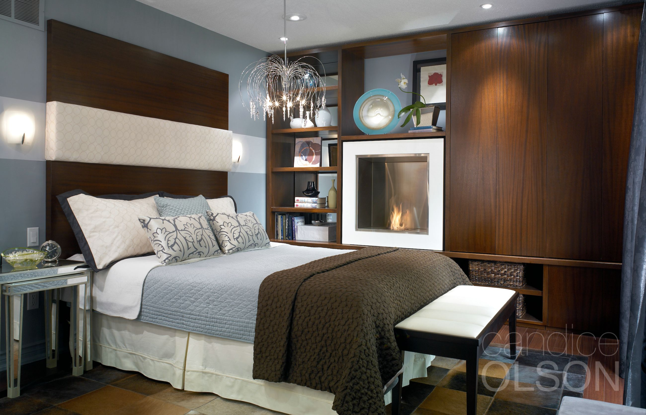 The Color Scheme Of Smoky Blue And Rich Brown Puts A Sultry Spin
