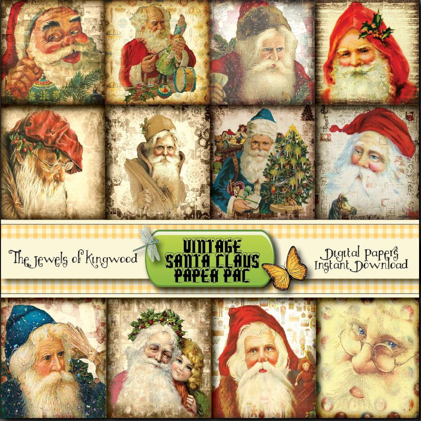 Vintage Santa Clause Dictionary Art Print Picture Christmas Poster Holiday Gift