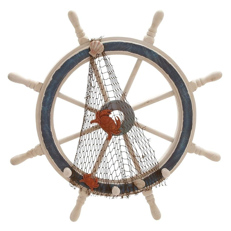 Decorative Ship Wheel With Fishing Net And Shells Ship Wheel Wooden Ship Nautical Home Decorating