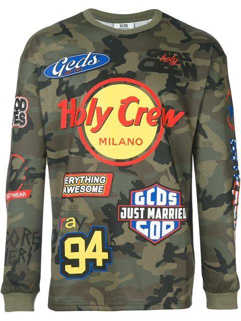 GCDS branded camouflage sweatshirt. #gcds #cloth #sweatshirt