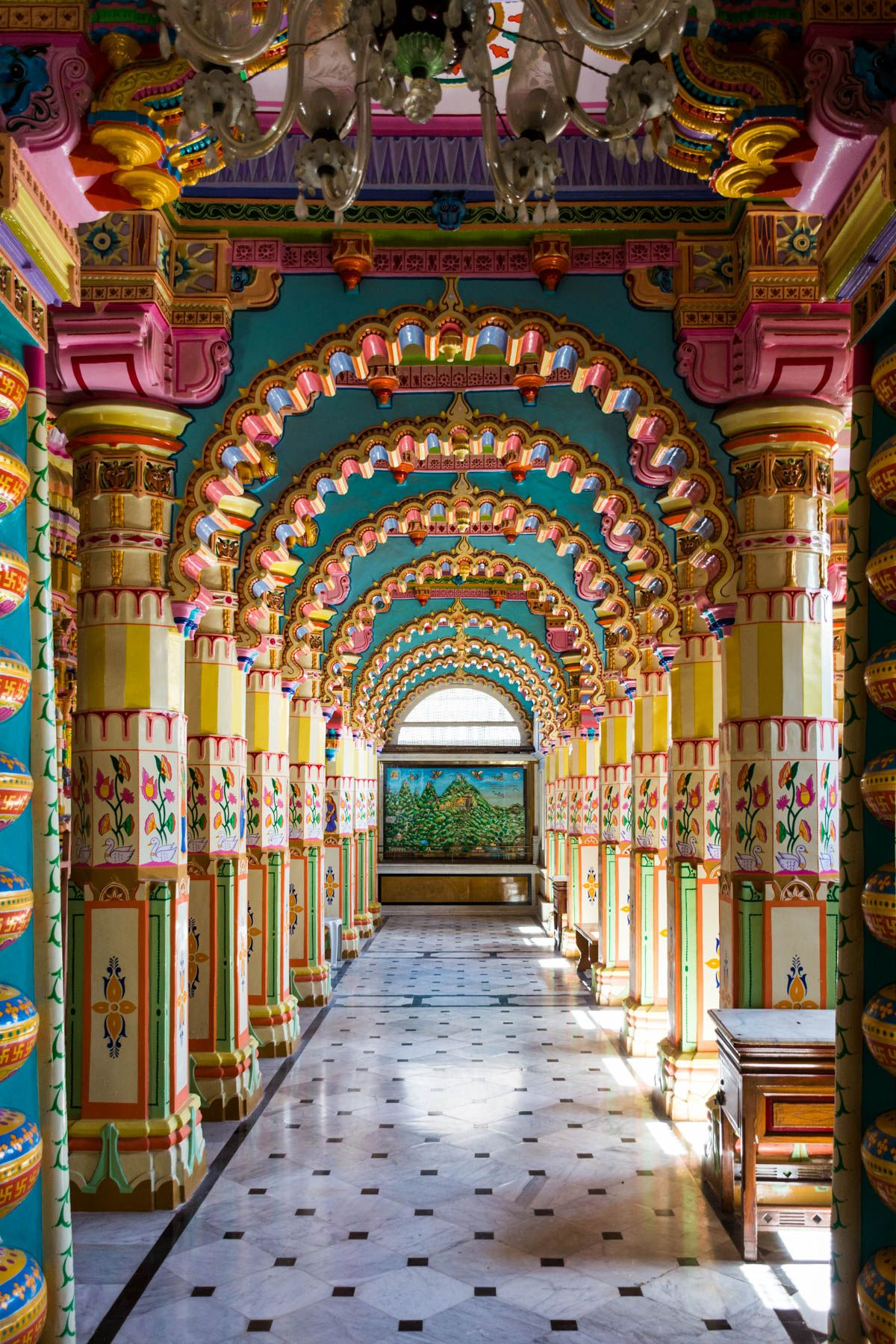 Colorful rainbow archways in the interior of Shantinath