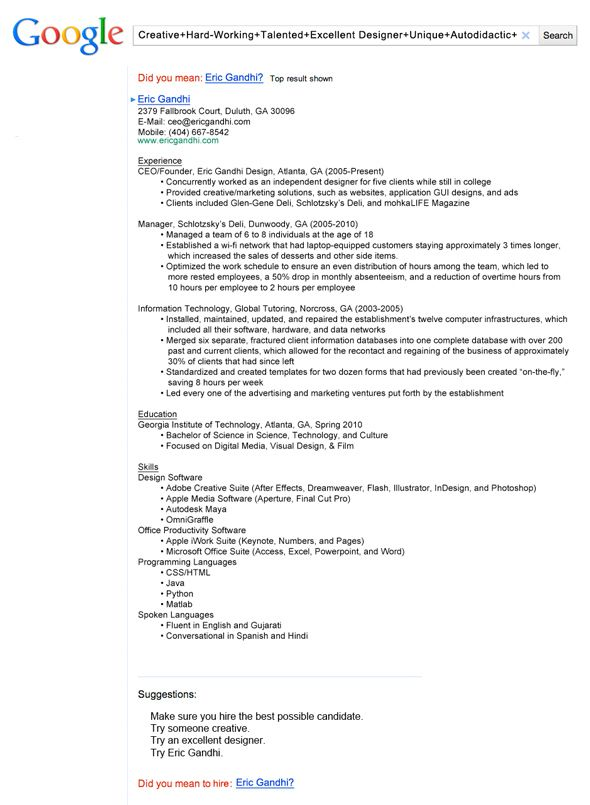 this resume got a job with google - Gui Designer Resume