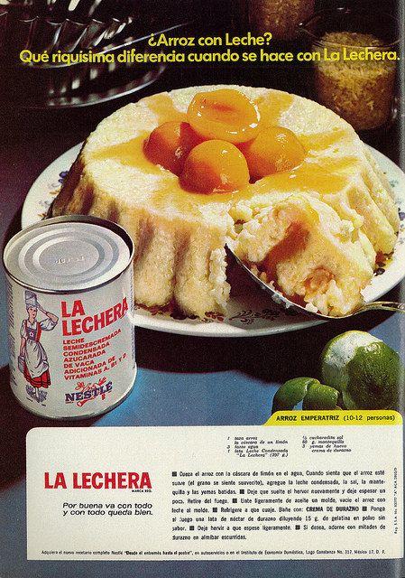 Photo of 1974 Food Ad, La Lechera Sweetened Condensed Milk, with Arroz Emperatriz Dessert Recipe (lengua española revista)