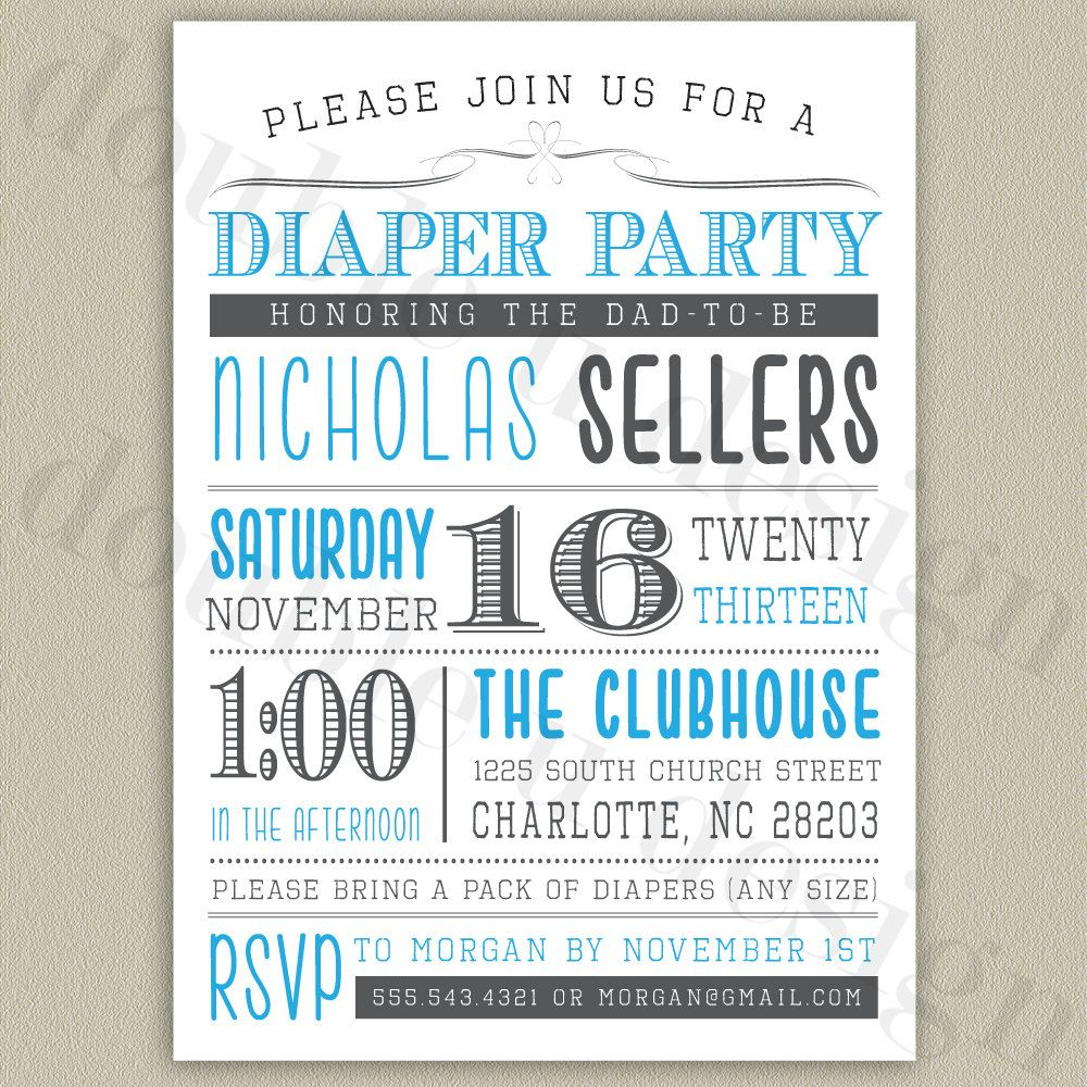 Diaper Party Printable Invitation with Color by doubleudesign ...