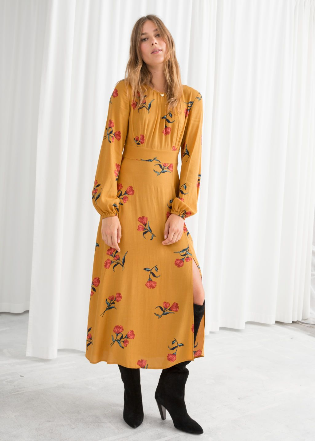 871198086771a Floral Long Sleeve Midi Dress in 2019   --looks--   Dresses, Long ...
