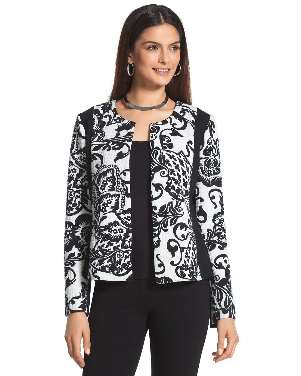 Chico's Women's Quilted Pieced Jacket, Black/Optic White, Size: 3 (16/18 XL)