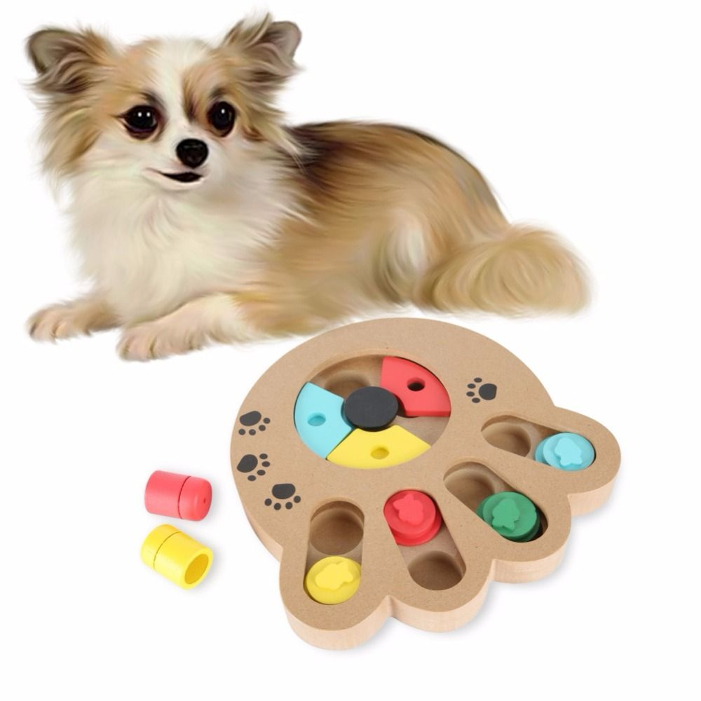New Arrival Interactive Wooden Dog Cat Toy Pet Bone Paw Puzzle