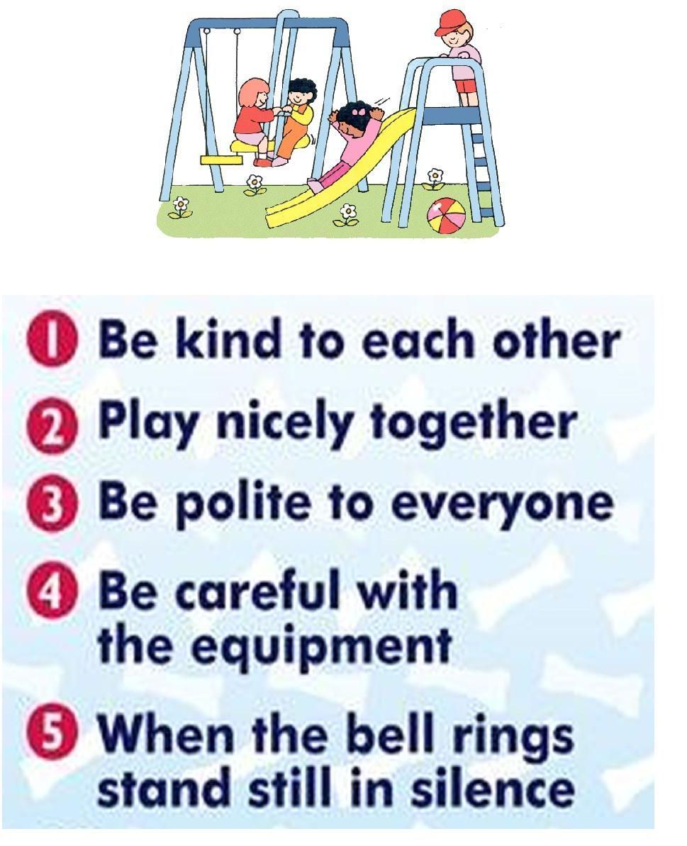 Playground rules and visuals. Great resource! Playground