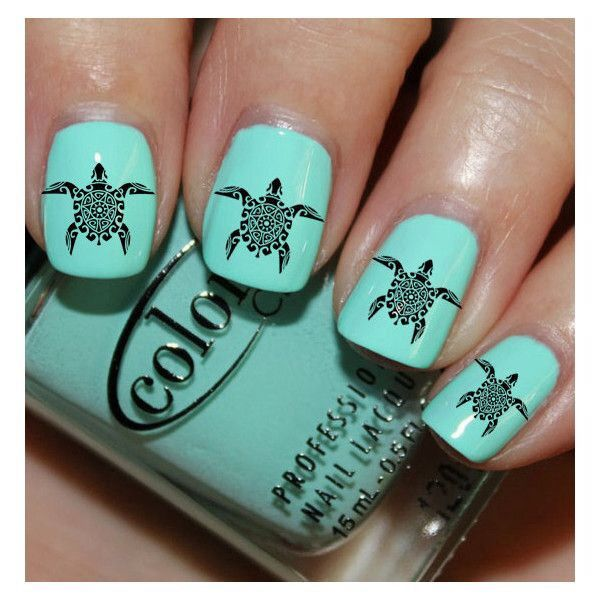 Light Blue nails with Black Turtle design - Light Blue Nails With Black Turtle Design Nails Pinterest Blue