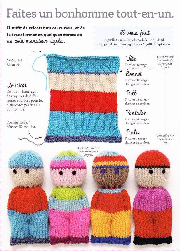Roses et petits bonhommes au tricot petit bonhomme le tricot et bonhomme - Faire une boutonniere au tricot ...