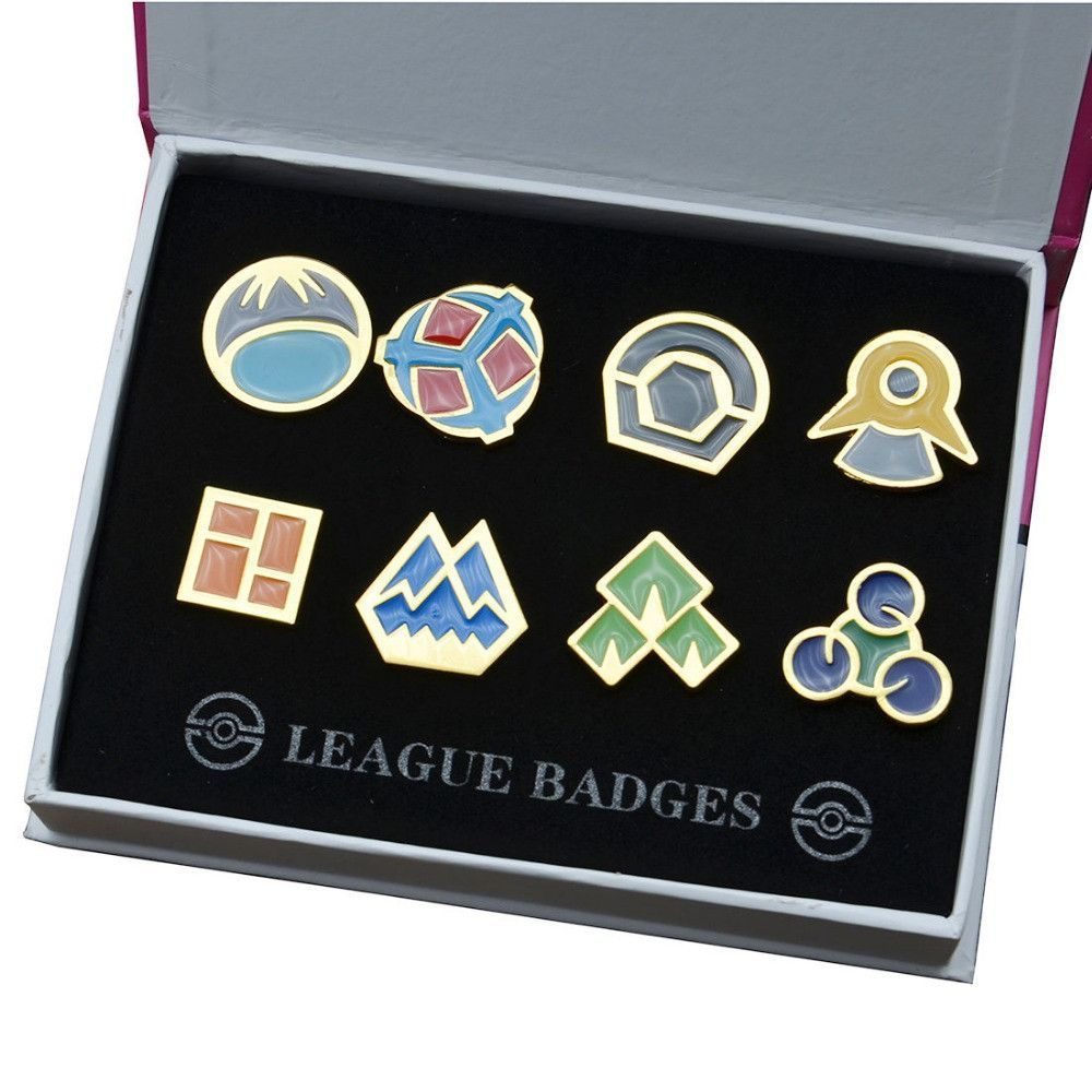 Cosplay Pokemon Go Johto League Gym Badges Set of 8 Metal Pins Gen 2 Brooch Set