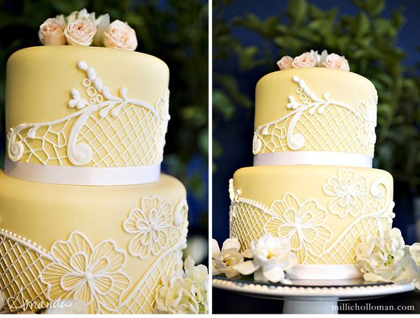yellow vintage wedding cake