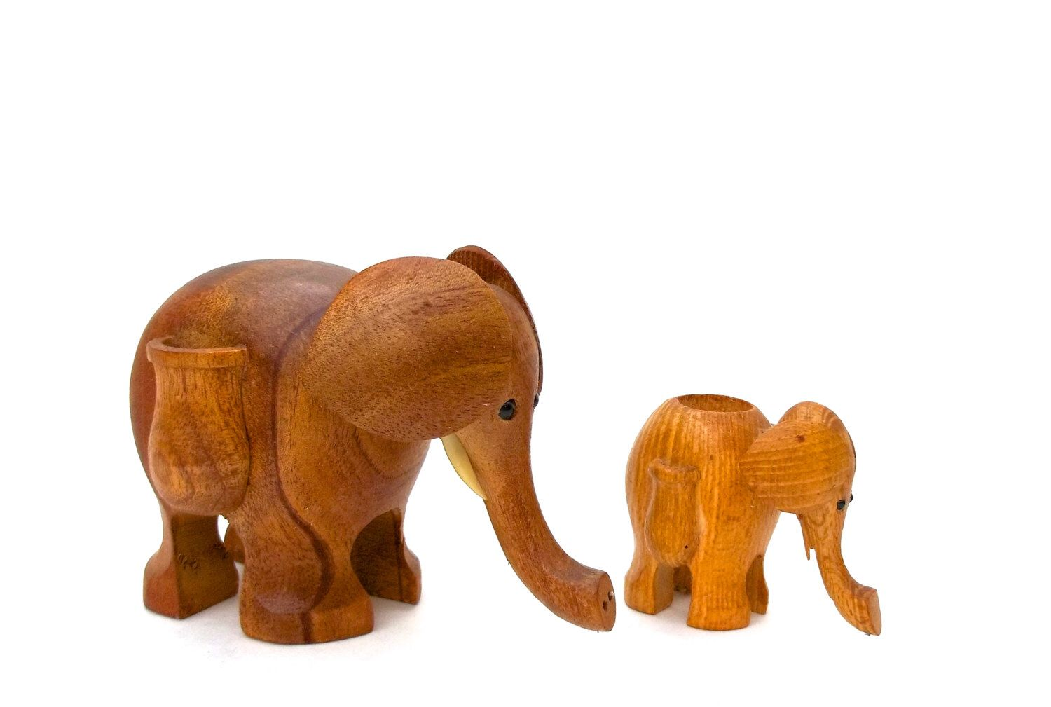 Danish Modern Teak Elephants, Mid-Century Elephant Toothpick Holders ...