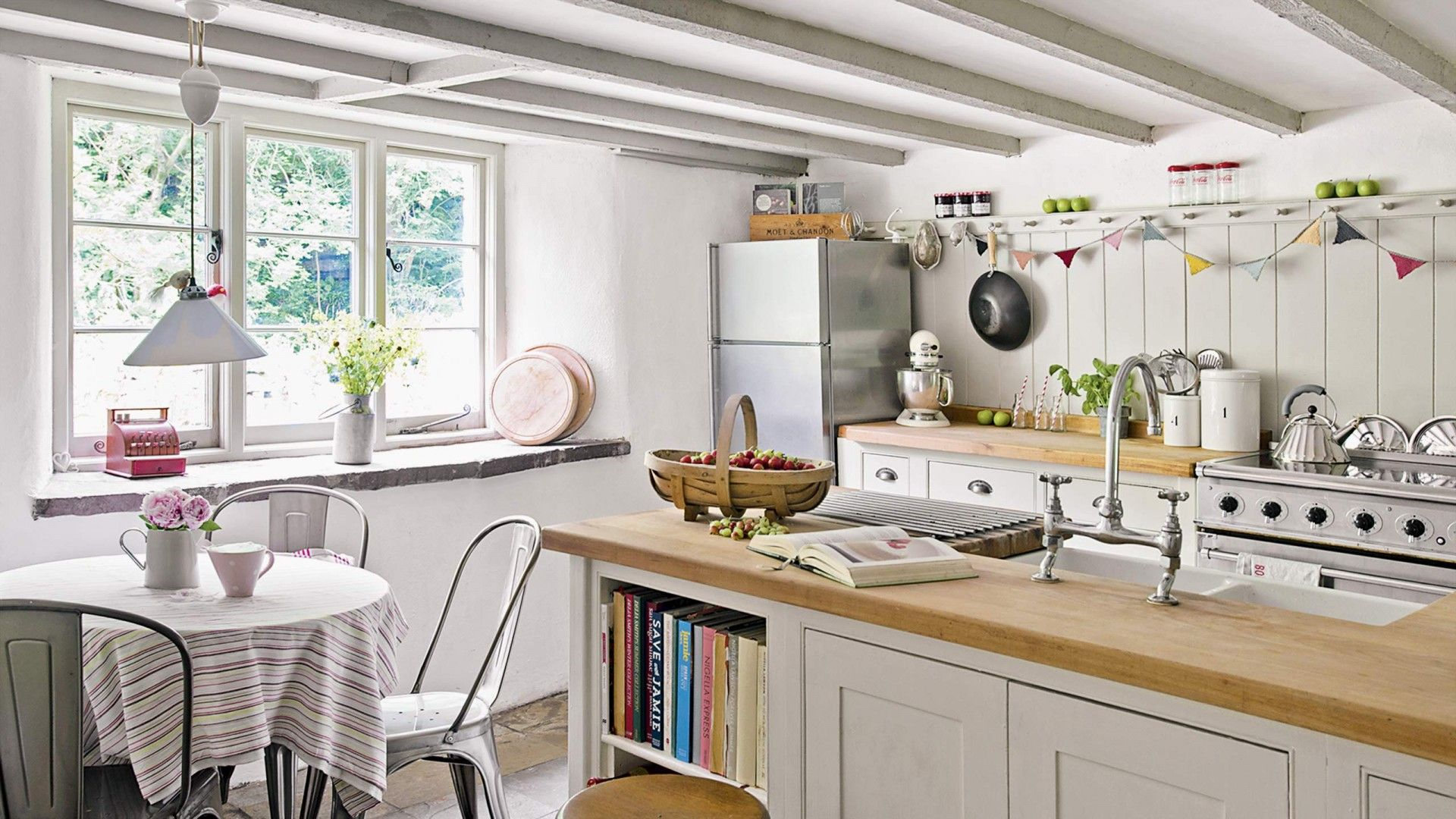 Neutral Country Kitchen With Wooden Worktop And Bunting Home