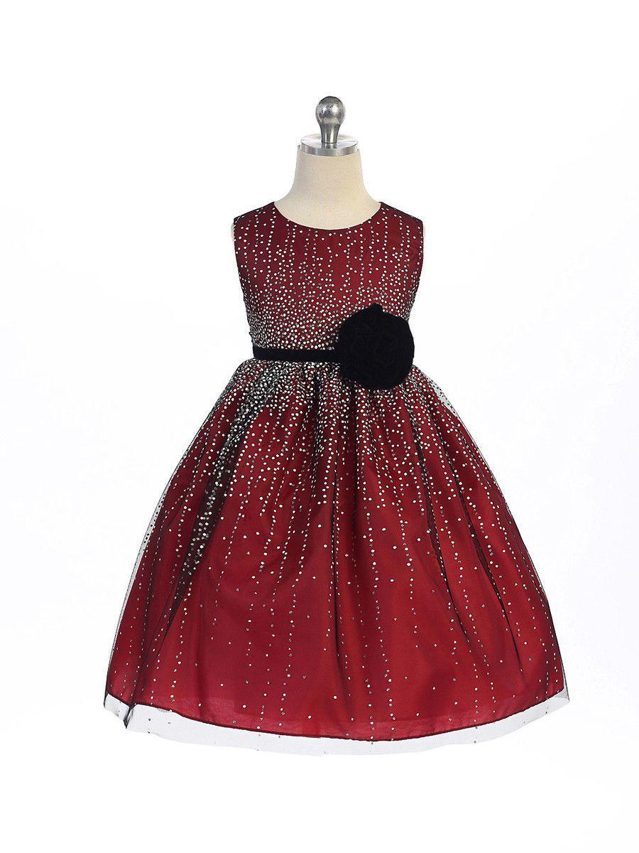 063efdaf40cb Red Tulle Mesh Holiday Dress with Hand-rolled Velvet Rosette ...