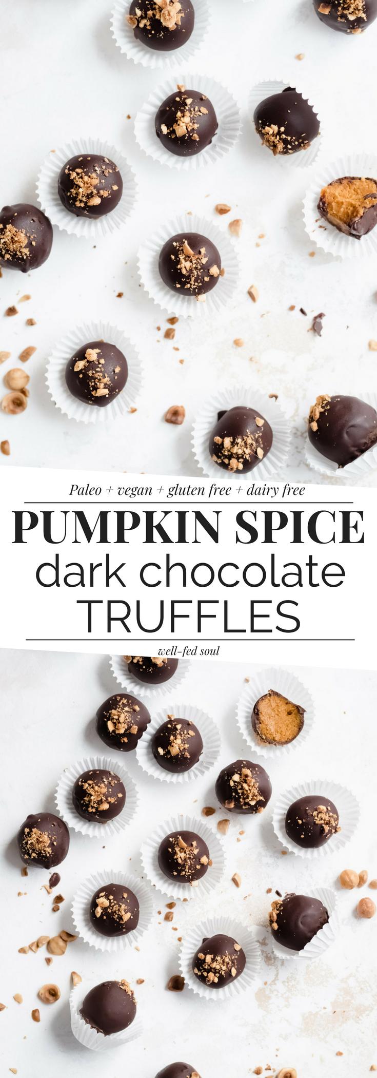 Paleo Dark Chocolate Pumpkin Pie Truffles