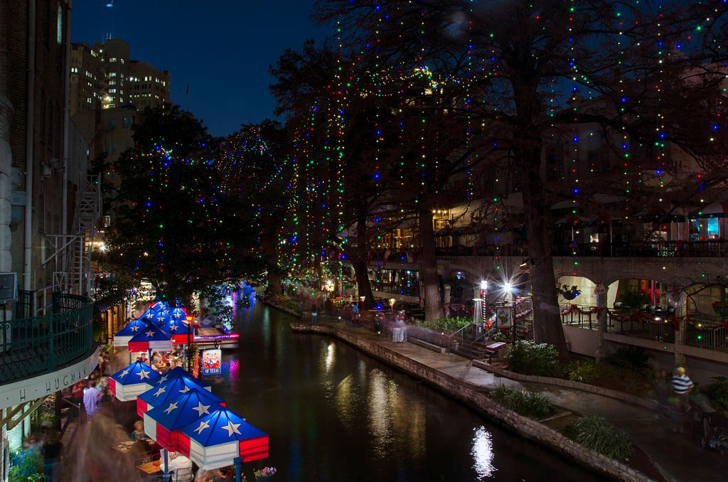 During the Christmas Season the San Antonio Riverwalk is
