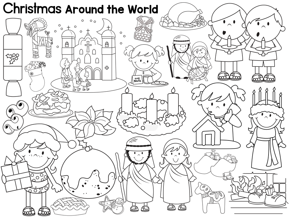 Christmas Around the World Book List Freebie and free coloring