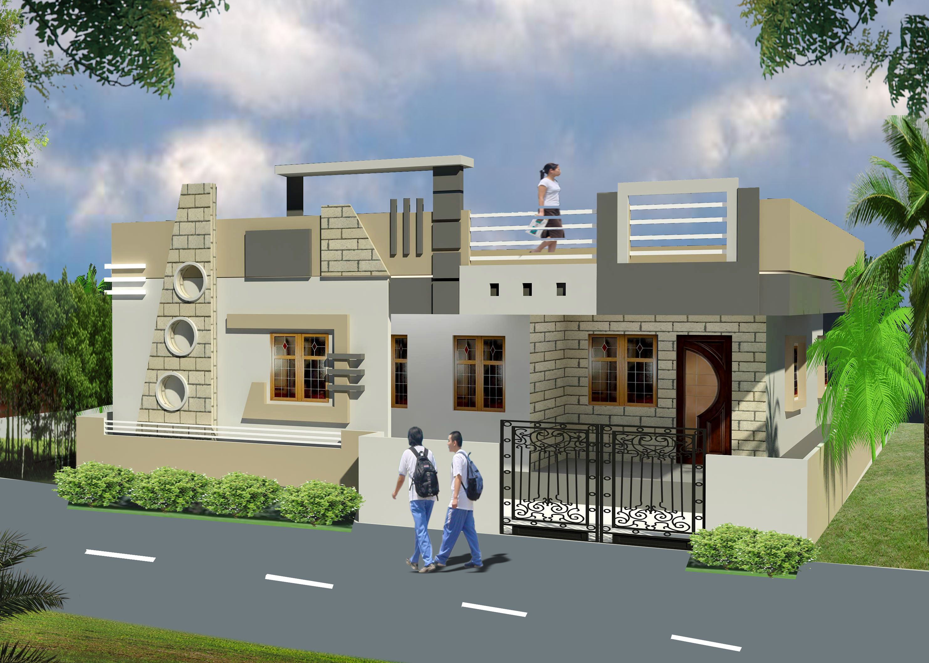 compound wall elevation - Google Search | Small house ...