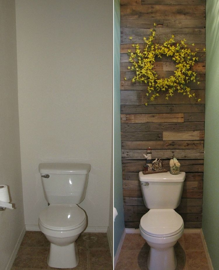 this small toilet room got an excellent makeover with pallets httpwww - Design Of Toilet Room