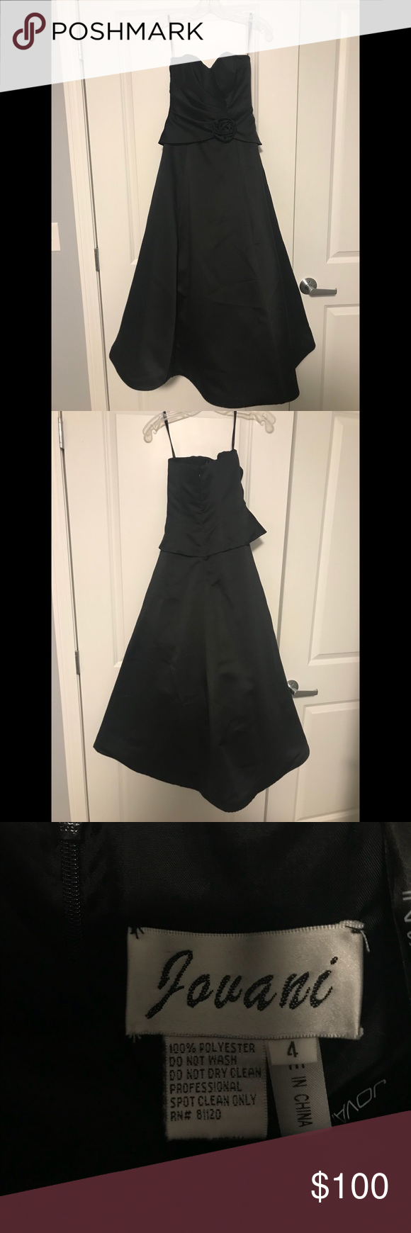 Jovani black strapless prom dress size worn once length inches